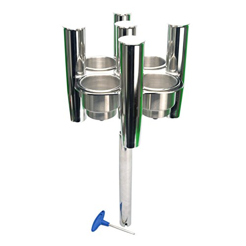Amarine Made Stainless Steel Collector 5 Rod Holders with 4 Cup Holders, Cluster Rod Holder, Angle Ajustable - Sh9965s
