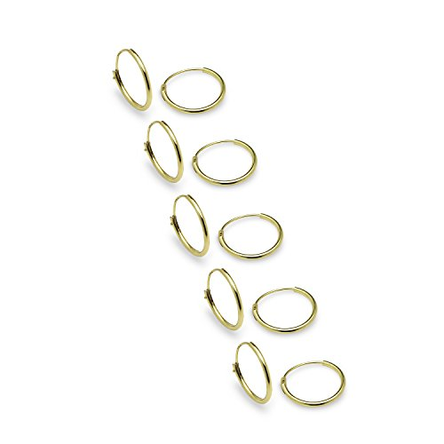 925 Sterling Silver Gold Flashed Endless 10mm Round Hoop Earrings 5 Pair Set - Nine2Five (Gold Earrings Small Hoop)