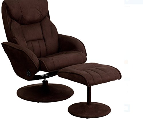 Brand New Flash Furniture Microfiber Recliner and Ottoman with Circular Microfiber-Wrapped Base, Brown