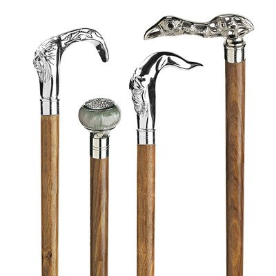 Design Toscano Gentleman's Choice Chrome Plated Walking Sticks: Set of Four by Design Toscano