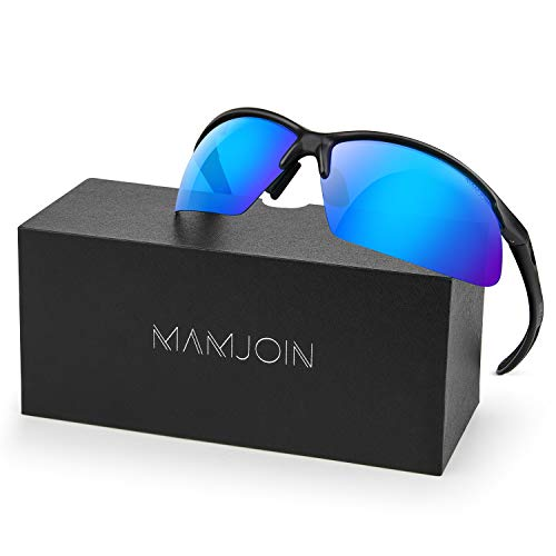 MAMJOIN Polarized Sports Sunglasses for Men Women Youth UV400 Protection Sunglasses for Cycling Driving Fishing Golf Baseball Running Hiking Outdoor Sports, Safety HD Glasses, TR90 Unbreakable ()
