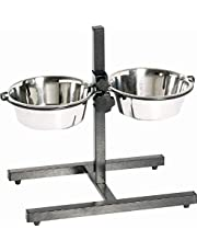 Indipets Adjustable Double Diner with 2 Stainless Steel 2-Quart Bowls