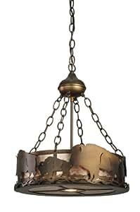 Meyda Tiffany Custom Lighting 110643 Buffalo 3-Light Inverted Pendant, Antique Copper Finish with Silver Mica Panels