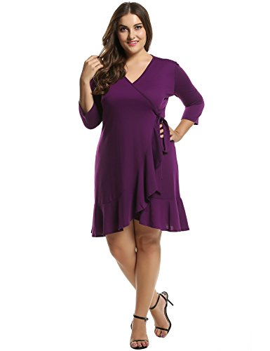 Meaneor Women's Plus Size 3/4 Sleeve Cocktail Wrap Dress(Purple, XXXX-Large)