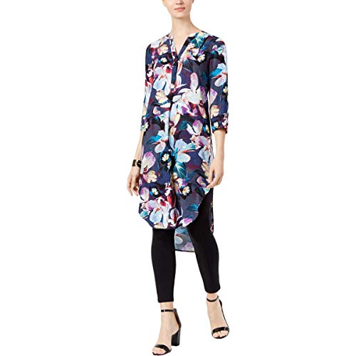 (Cable & Gauge Womens Floral Printed High-Low Tunic Dress Navy L)