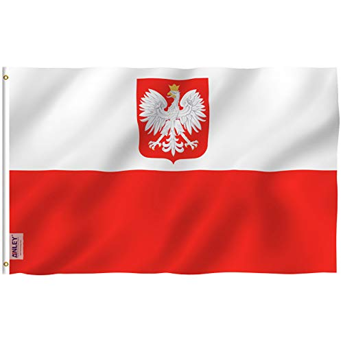 Flag Eagle Polyester - Anley Fly Breeze 3x5 Foot Poland State Ensign Flag - Vivid Color and UV Fade Resistant - Canvas Header and Double Stitched - Polish Eagle Flags Polyester with Brass Grommets 3 X 5 Ft