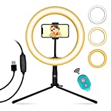 Ring Light for Phone MOUNTDOG 10 Inch Selfie Ring Light with 360 Degree Phone Holder and Detachable Tripod Stand Bluetooth Remote Shutter for Vlog/YouTube/TIK Tok/Photography/Makeup/Live Stream