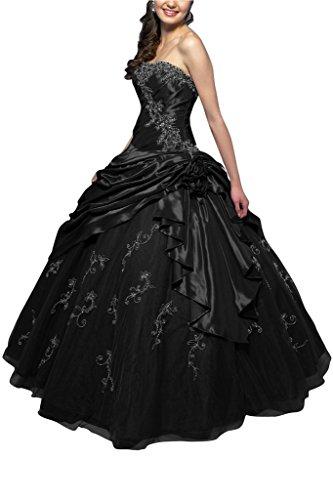Klassisch Tuell Abendkleid Schwarz Ballon Bride Gorgeous Lang Traegerlos Linie Ballkleid A Taft Cw58yH