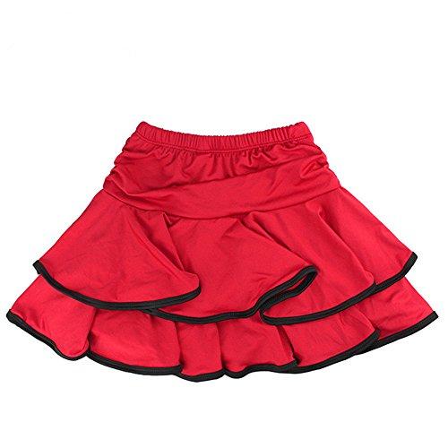 (TanQiang Little Girls Latin Dance Skirt Ballroom Samba Chacha Dancing Dress Inside with Shorts Kids Mini Skirt M (B))