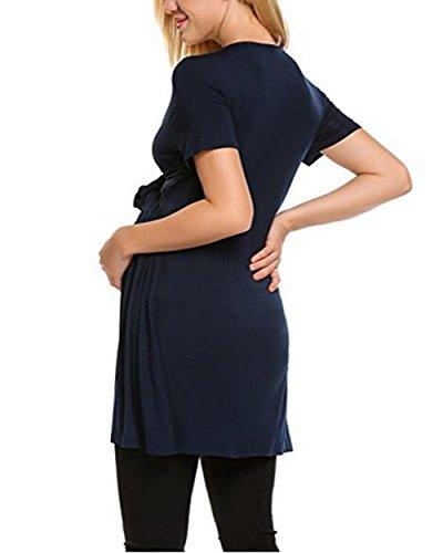 T Maglietta Shirt Moda Camicie Manica Puro Colore Dark Comoda Loose L'Allattamento Casual ZONVENL Allacciatura Morbidi Donna Blue Top Corta Gravidanza Popolare xAwaq60Y5