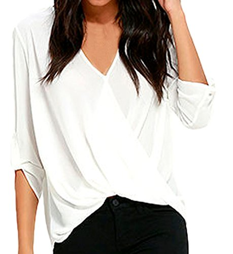 Lace Chiffon Blouse (Shawhuwa Womens Sexy Chiffon V Neck Ruffle Loose Fit Blouse Top Shirts S White)