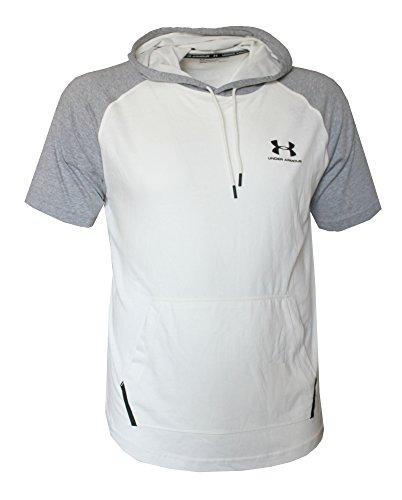 Under Armour Men's Short Sleeve Light Hooded Shirt Hoody (Ivory/Steel, XL)