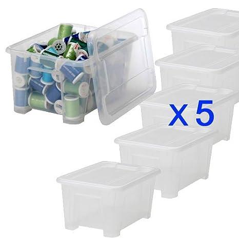 IKEA SAMLA - Juego de 5 cajas de almacenaje con tapa, plástico transparente: Amazon.es: Hogar