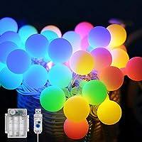 Maxsure Guirnalda Luces, 5M 50 LED, Cadena de Luces, USB y Pilas, 12 Modos, Blanco Cálido y Multicolor, IP65 Impermeable…