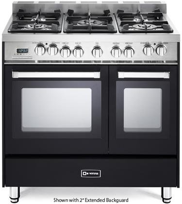 Verona VEFSGE365NDE 36'' Double Oven Dual Fuel Range with 5 Sealed Gas Burners 2.4 cu. ft. Oven Capacity Quiet Hinge Storage Drawer Electronic Ignition Digital Clock and Timer In Matte Black by Verona
