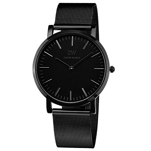 (Zeiger Women Watches Stainless Steel Black Dial Analog Quartz Lady Watch Black Fashion Business for Men Women)