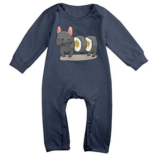 TYLER DEAN Baby Girls Bodysuits Frenchie Sushi Roll Kid Pajamas Navy -