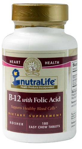 Nutralife B-12 with Folic Acid -- 180 Easy Chew Tablets - 3PC by Nutralife