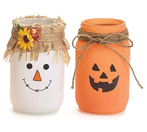 Autumn Jack o Lantern and Scarecrow Themed Tea Light Candle Jars, 7 Inches -