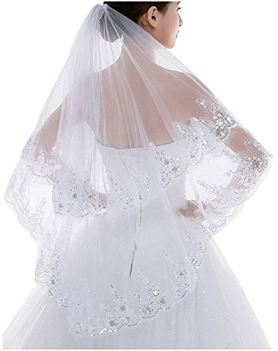 One Bead Short - Setwell Elegant 2 Layer Lace Sequins Beaded Edge Bridal Wedding Veil with Comb Fingertip Length 31.5