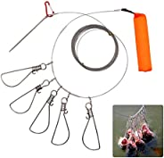 6M/19.6FT Fishing Stringer Clip Fish Lock Stainless Steel Wire Rope Lanyard Live Fish Lock with Float 5 Metal