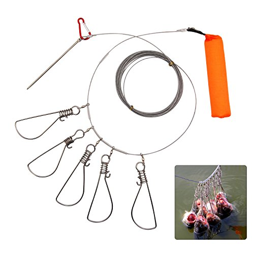 JSHANMEI Fishing Stringer Clip Fish Lock Stainless Steel Wire Rope Lanyard Live Fish Lock with Float 5 Metal Snaps