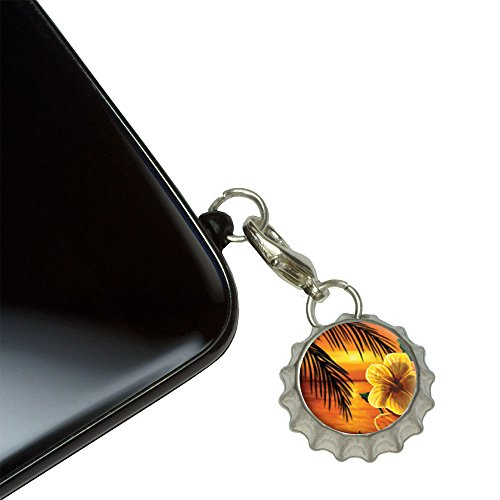 Beach Sunset Hibiscus Flower Palm Tree Ocean Hawaiian Mobile Cell Phone Jack Anti-Dust Bottlecap Charm fits iPhone iPod Galaxy
