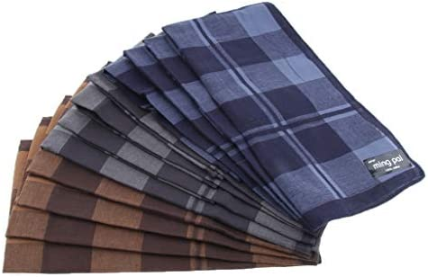 ポケットハンカチ スカーフ 四角形 格子縞 ハンカチ ビジネスマン 紳士 古典的 レトロ 約12個