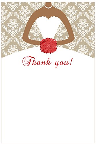(30 Blank Thank You Card Notes + 30 White Envelopes - Bridal Wedding Shower African American Bride Dress Gold Red Damask)