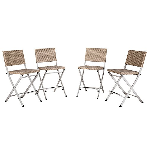 Cloud Mountain Set of 4 Outdoor Wicker Rattan Bar Stool Bar Set Outdoor Patio Wicker Furniture Dining Chairs, Beige