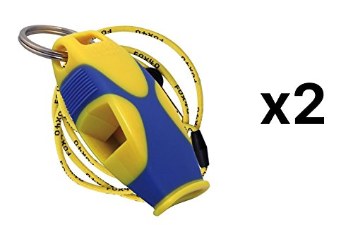 Fox 40 Sharx Whistle w/ Lanyard Referee Survival Outdoor Safety Yellow (2-Pack)