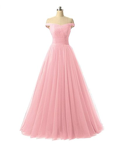 Off Tulle Dresses Prom Long line A The AK Dress Beauty Shoulder Gown Bridesmaid Women's Evening Pink fCXTFq
