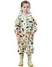 LIVACASA Barn pöl passar pojkar flickor regnkläder lätt regnrock allt i ett vattentät regndräkt 1-7 år