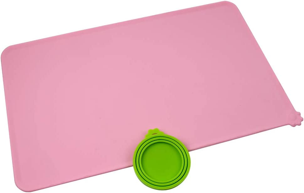 ICObuty Food Mats Tray Bowl Feeding Mats Placemat Mat for Dog Cat Pet and Dog Catcher Flying Disc Toy Can Cover Lids Silicone Waterproof Non Slip
