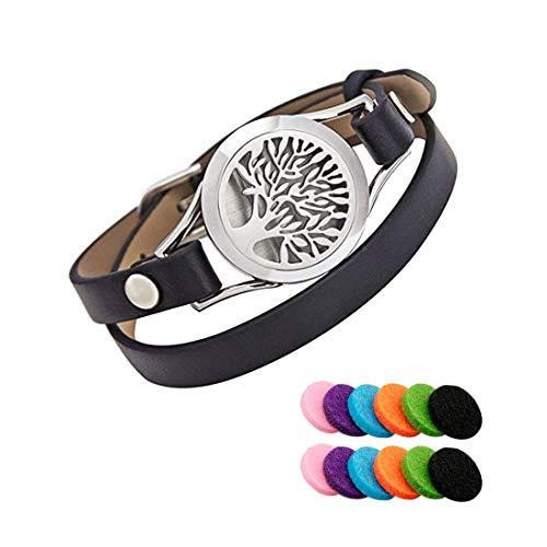 Tree of Life Diffuser Bracelet - Aroma Bracelet - Essential Oil Diffuser Bracelet Double Cowhide Leather Strap with 12PCS Felt Pads