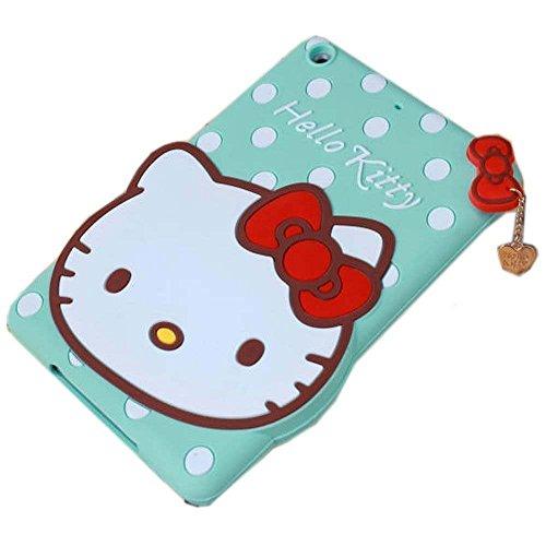 iPad Mini Case,Phenix-Color 3D Cute Soft Silicone [Drop Proof,Shock Proof,Anti Slip] Despicable Me 2 Hello Kitty Cartoon Gel Rubber Back Cover Case for iPad Mini 1 2 3 (Hello Kitty Blue)