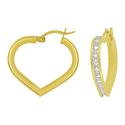 14k Yellow Gold, Heart 3mm Channel Set Created CZ Earring 20mm Inner Diameter by GiveMeGold