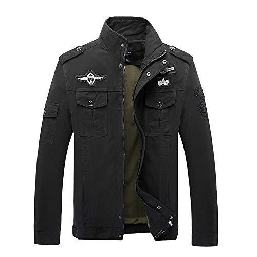 Realdo Mens Military Combat Jacket Clearance, Winner Casual Zipper Tactical Pocket Long Sleeve Cargo Coat(Large,Black) ()
