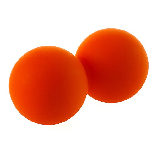 Fronnor Double Lacrosse Ball Peanut Massage Ball for Thoracic Spine - Upper Back, Neck (Orange) ()