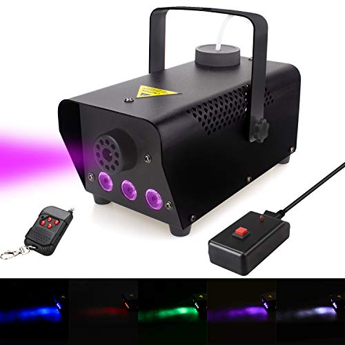 Fog Machine with lights, 400-Watt Portable Fog Machine with Wireless Remote Control, Smoke Machines for Parties Halloween Wedding Christmas DJ Dance ()