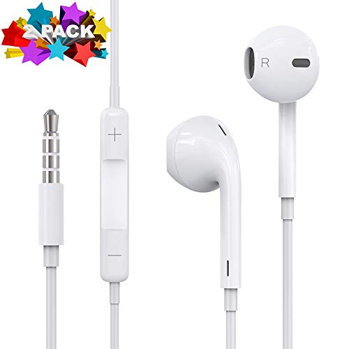 Lspenor 2pack Earphones, Headphones, Earbuds, in-Ear, Powerful Bass Driven Sound, Noise Isolation Headsets Heavy Bass Earphones with Microphone for iOS Android Cell Phones Smart Phones