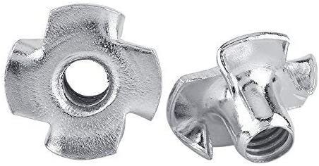 Galvanized carbon steel T-nut Four-pointed T-nuts for carpentry furniture M5 (50 // package)