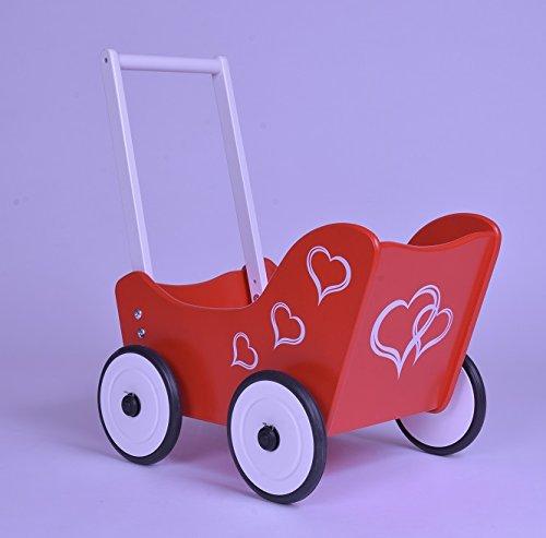 Lauflernwagen Holz Mädchen - SchwabenKids Puppenwagen Herzen