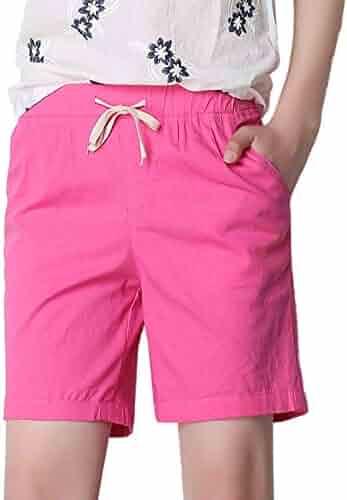 9f8e906f8 Femirah Women's Modest Loose Elastic Waisted Bermuda Drawstring Casual  Shorts