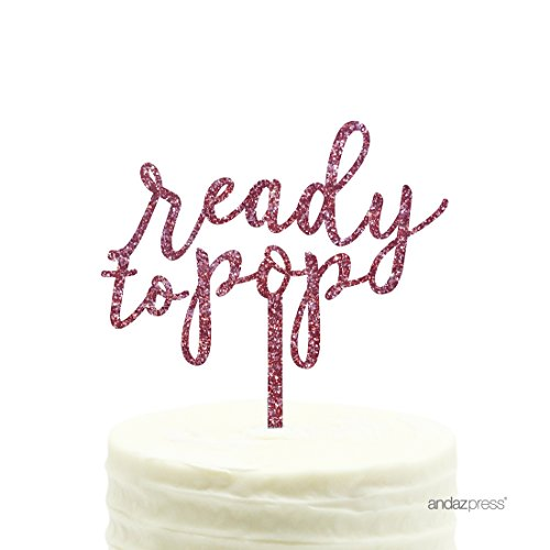 Andaz Press Baby Shower Acrylic Cake Toppers, Pink Glitter, Ready to Pop, 1-Pack (Baby Shower Cake Pops)