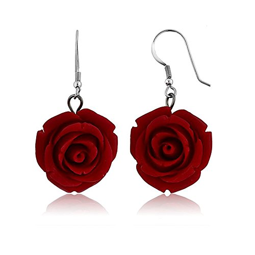 Nuwastone 20MM 925 Sterling Silver Red Simulated Coral Carved Rose Flower Earrings (Earrings Red Rose)