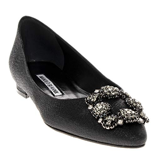 (Manolo Blahnik Women's Hangisiflat Satin Leather Jewel Button Flats in)