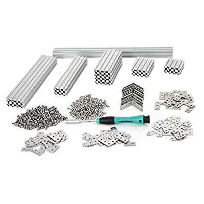 Image of MakerBeam Regular Starter Kit Clear anodized including beams, brackets, nuts and bolts