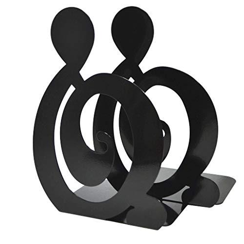 LiboboDouble Book Baffle Metal Non-Slip Simple Desktop Stand Rack Bookmark (Black)