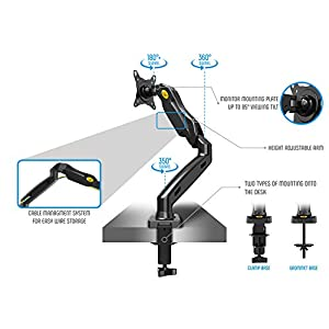 North Bayou Full Motion Desk Mount with Mount and Gas Spring for Computer Monitors 17'' - 27 LED LCD Flat Panel TVs from 4.4lbs upto 14.3lbs F80